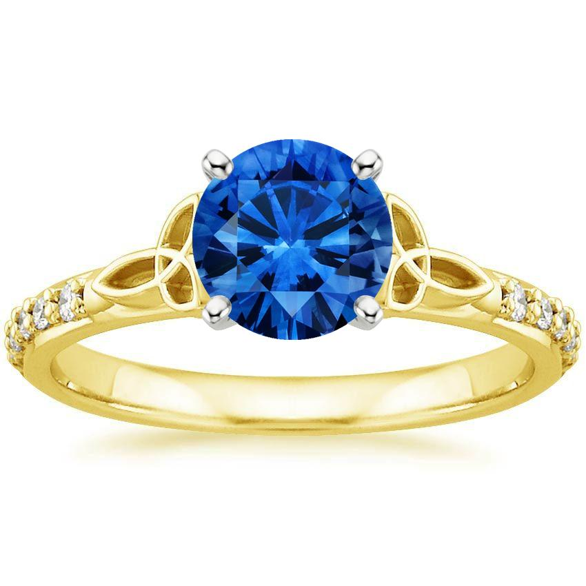 Sapphire Luxe Celtic Love Knot Ring In 18k Yellow Gold
