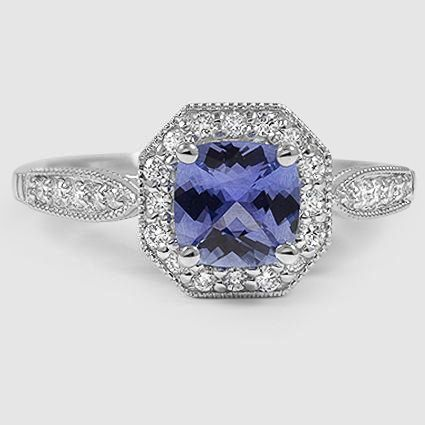 18K White Gold Sapphire Victorian Halo Diamond Ring