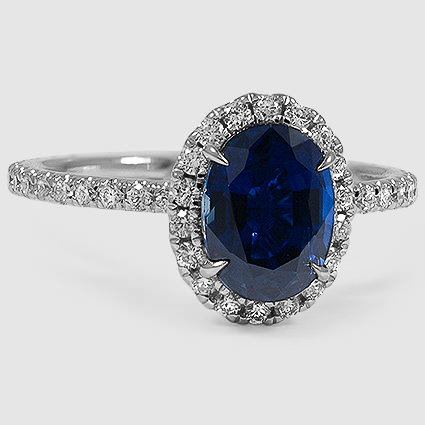 18K White Gold Sapphire Waverly Diamond Ring