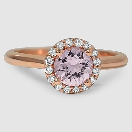 14K Rose Gold Sapphire Halo Diamond Ring