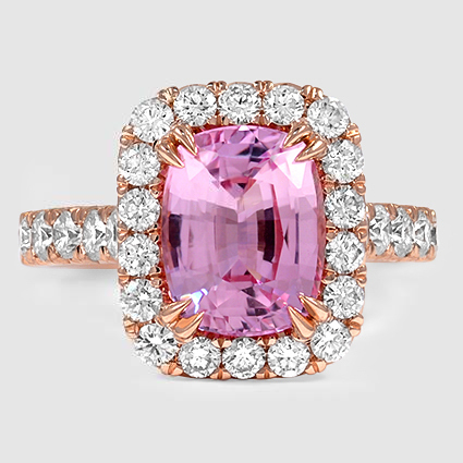 14K Rose Gold Sapphire Sienna Diamond Ring