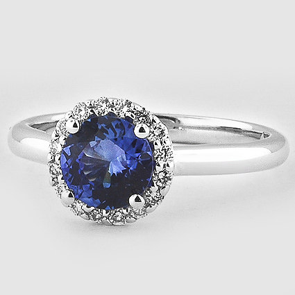 18K White Gold Sapphire Halo Diamond Ring