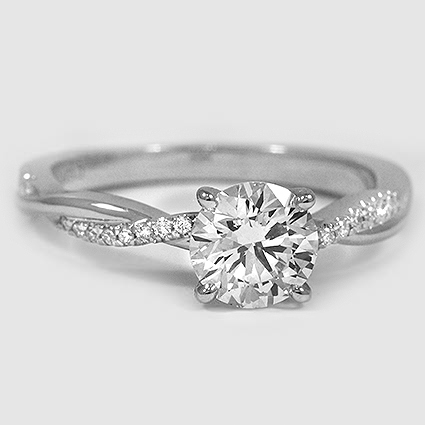 Platinum Petite Twisted Vine Diamond Ring