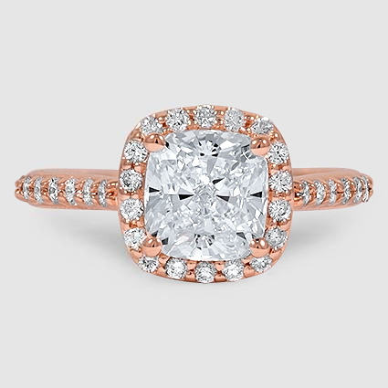 14K Rose Gold Fancy Halo Diamond Ring with Side Stones