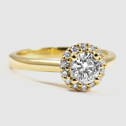 18K Yellow Gold Halo Diamond Ring