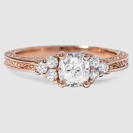 14K Rose Gold Adorned Trio Diamond Ring