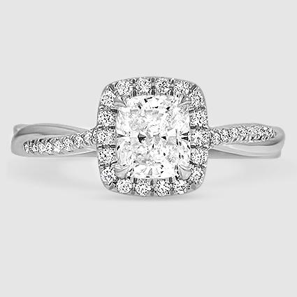 18k White Gold Petite Twisted Vine Halo Diamond Ring 1 4 Ct Tw