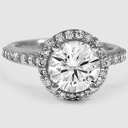 Platinum Halo Diamond Ring with Side Stones (1/3 ct. tw.)