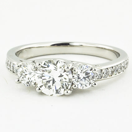 Platinum Three Stone Round Diamond Pavé Trellis Ring
