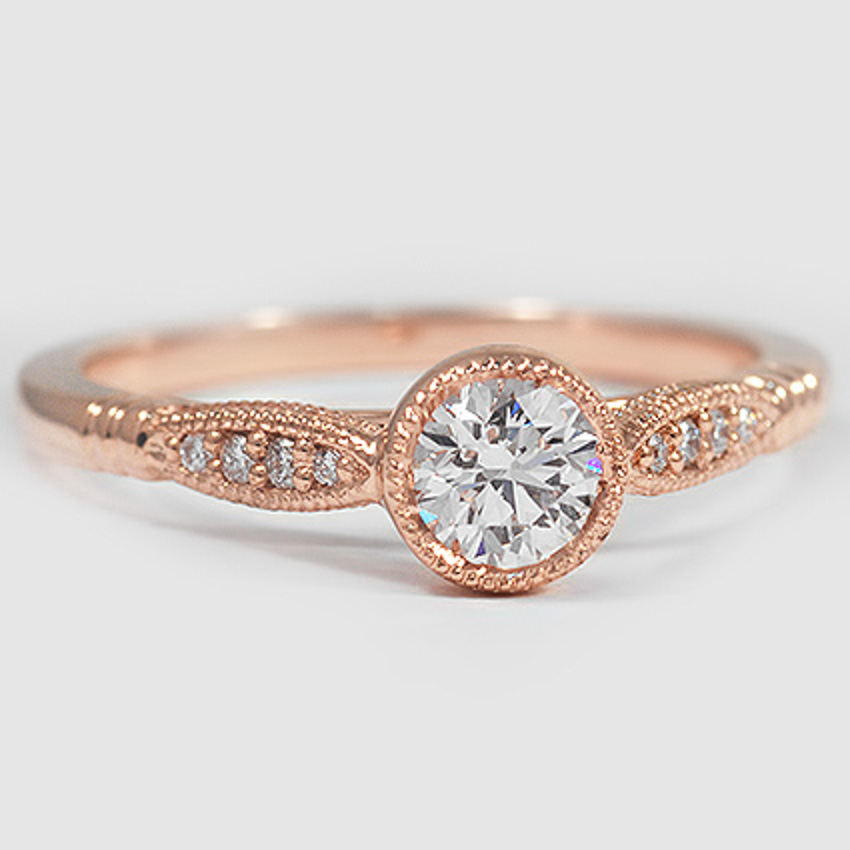 14K Rose Gold Lyra Diamond Ring