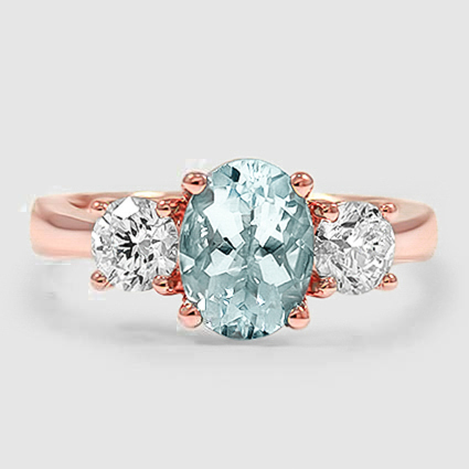 14K Rose Gold Sapphire Three Stone Diamond Trellis Ring