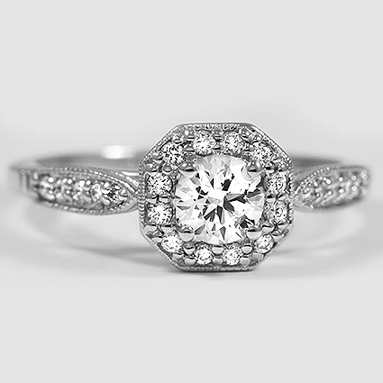 18K White Gold Victorian Halo Diamond Ring