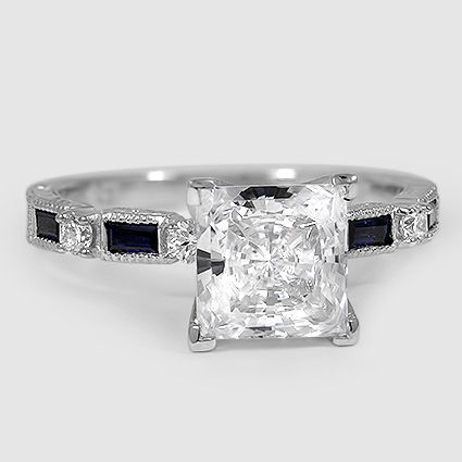 18K White Gold Vintage Sapphire and Diamond Ring