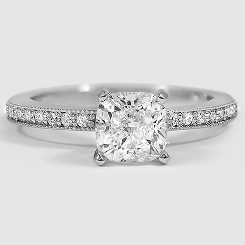 Platinum Pavé Milgrain Diamond Ring (1/4 ct. tw.)