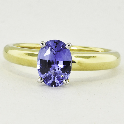 18K Yellow Gold Sapphire 3mm Comfort Fit Ring