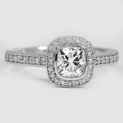 18K White Gold Fancy Bezel Halo Diamond Ring with Side Stones (1/3 ct. tw.)