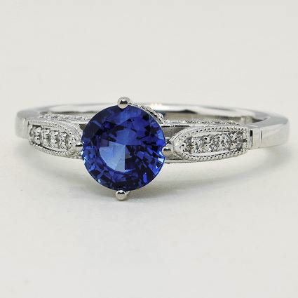 18K White Gold Sapphire Heirloom Diamond Ring