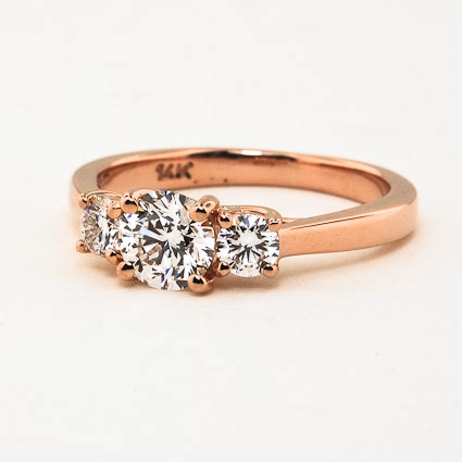 14K Rose Gold Petite Three Stone Trellis Ring (1/3 ct. tw.)