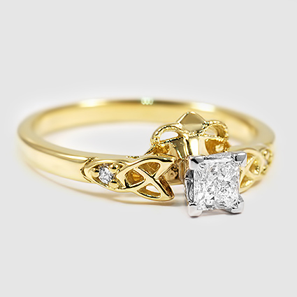 18K Yellow Gold Celtic Claddagh Ring