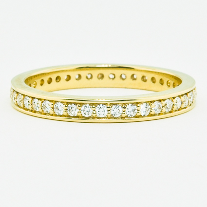 18K Yellow Gold Pavé Diamond Eternity Ring