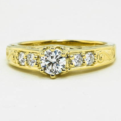 18K Yellow Gold Art Deco Filigree Diamond Ring (1/4 ct. tw.)