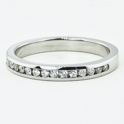 18K White Gold Petite Channel Set Round Diamond Ring (1/4 ct. tw.)