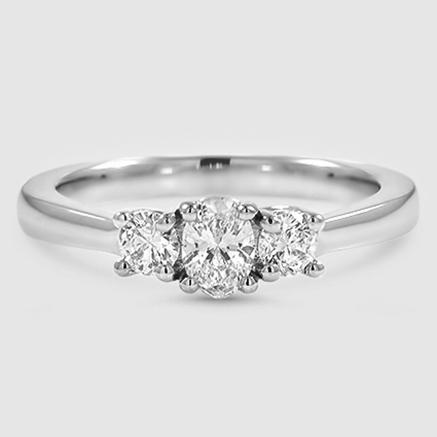 Platinum Petite Three Stone Trellis Ring (1/3 ct. tw.)