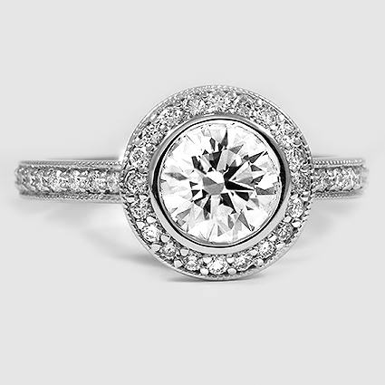 18K White Gold Round Bezel Halo Diamond Ring with Side Stones (1/3 ct. tw.)