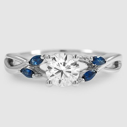 Platinum Willow Ring With Sapphire Accents