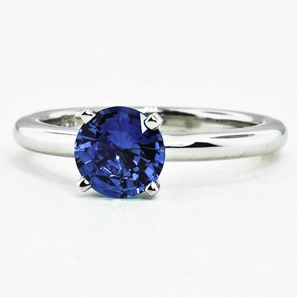 18K White Gold Sapphire 2mm Comfort Fit Ring