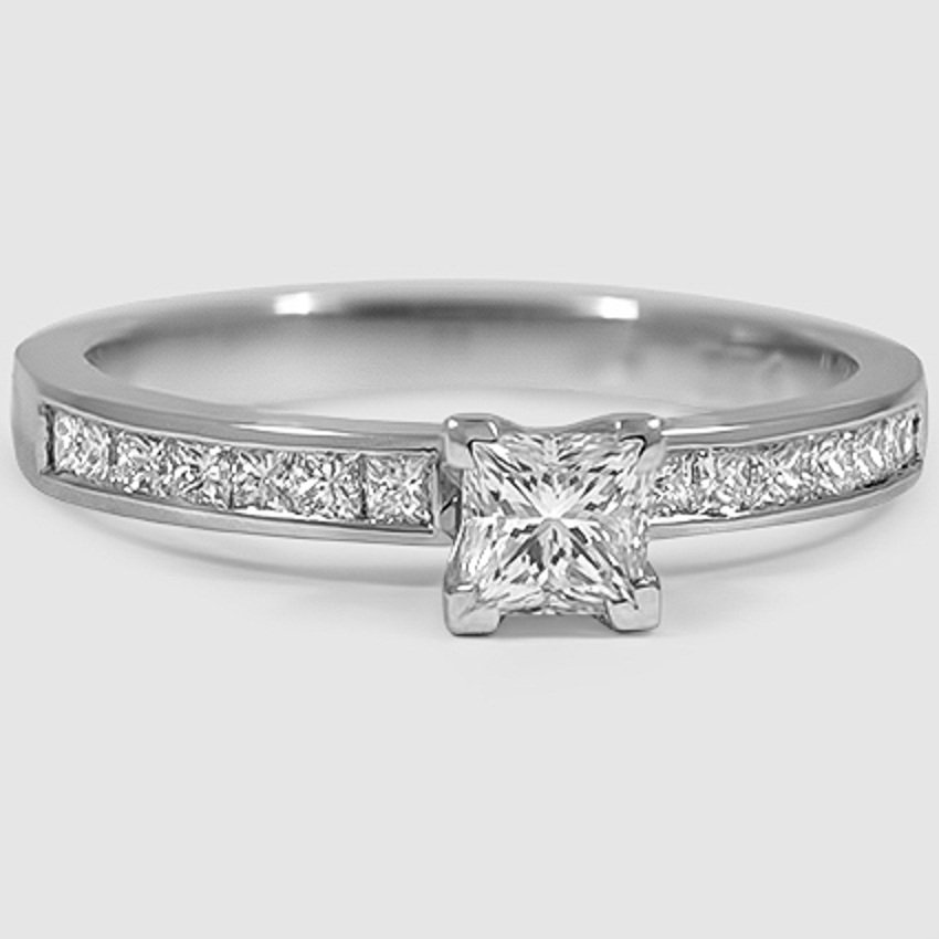 18K White Gold Petite Channel Set Princess Diamond Ring (1/3 ct. tw.)