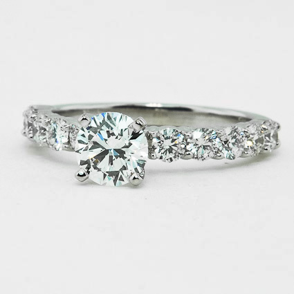 18K White Gold Luxe Shared Prong Diamond Ring (over 1/2 ct. tw.)