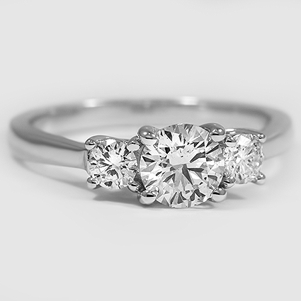 18K White Gold Petite Three Stone Trellis Ring (1/3 ct. tw.)