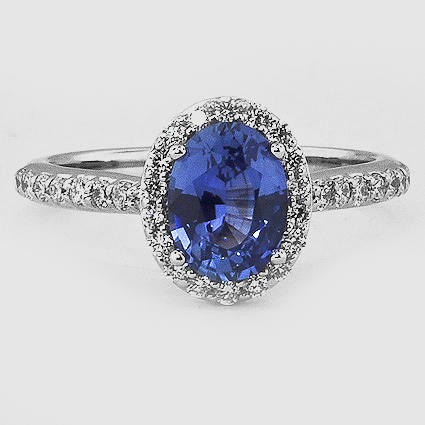 18K White Gold Sapphire Fancy Halo Diamond Ring with Side Stones