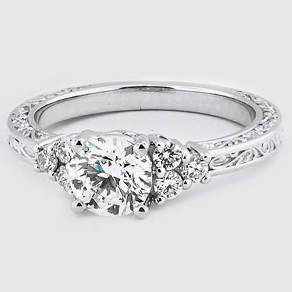 18K White Gold Adorned Trio Diamond Ring