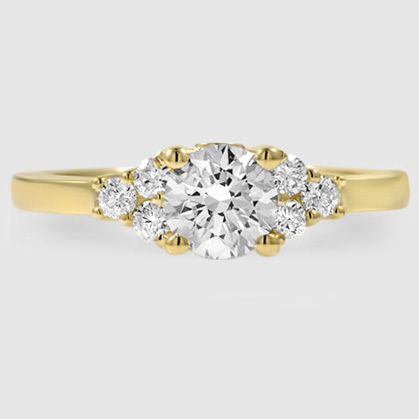 18K Yellow Gold Trio Diamond Ring
