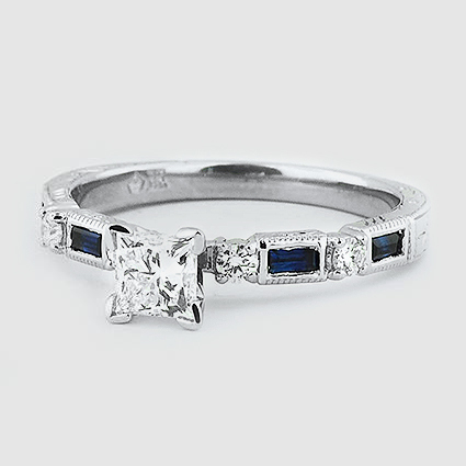 Platinum Vintage Sapphire and Diamond Ring
