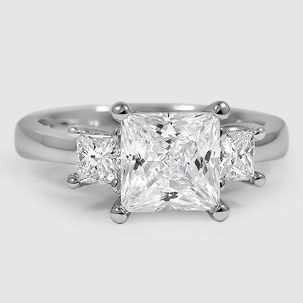 18K White Gold Three Stone Princess Diamond Trellis Ring (1/2 ct. tw.)