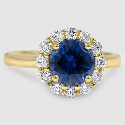 18K Yellow Gold Sapphire Lotus Flower Diamond Ring (1/3 ct. tw.)