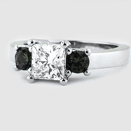 Platinum Three Stone Diamond and Emerald Ring