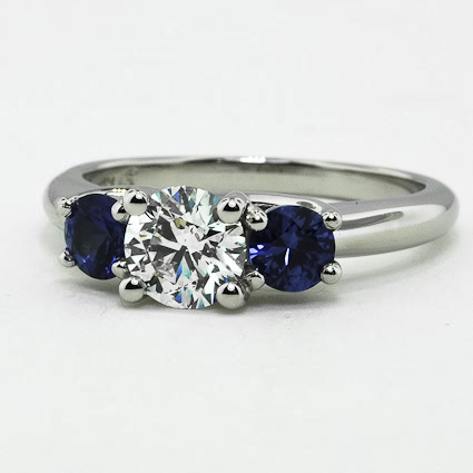 Platinum Three Stone Diamond and Sapphire Trellis Ring