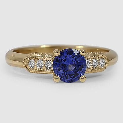 18K Yellow Gold Sapphire Antique Nouveau Diamond Ring