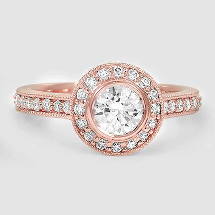 14K Rose Gold Round Bezel Halo Diamond Ring with Side Stones (1/3 ct. tw.)