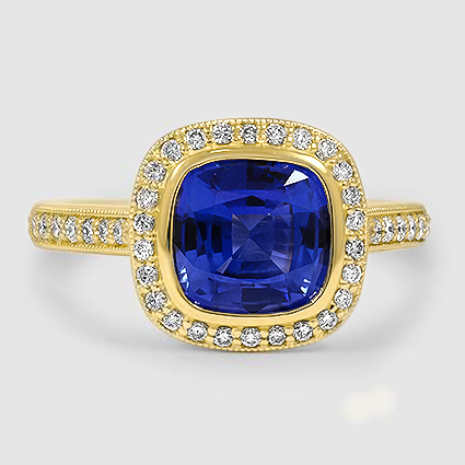 18K Yellow Gold Sapphire Fancy Bezel Halo Diamond Ring with Side Stones
