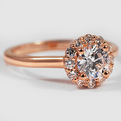 Lotus Flower Diamond Ring Rose Gold