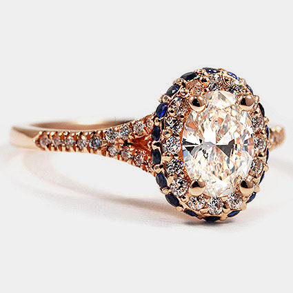 14K Rose Gold Circa Diamond Ring with Sapphire Accents