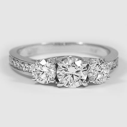 18K White Gold Three Stone Round Diamond Pavé Trellis Ring