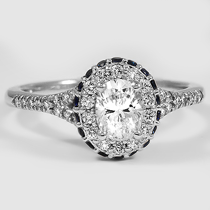 18K White Gold Circa Diamond Ring with Sapphire Accents