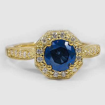 18K Yellow Gold Sapphire Victorian Halo Diamond Ring