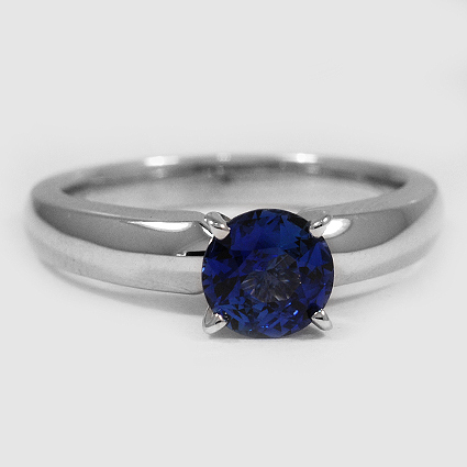 18K White Gold Sapphire 3mm Comfort Fit Ring